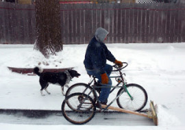 Great Do-It-Yourself Pedal-Powered Snow Plow