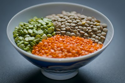 green brown red lentils in a bowl