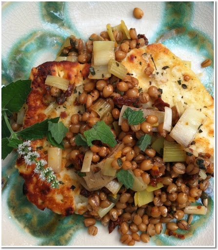 Grilled haloumi cheese and wheat berries.