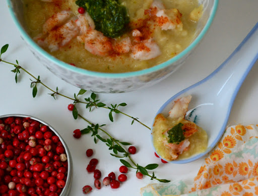 roasted shrimp and cauliflower soup