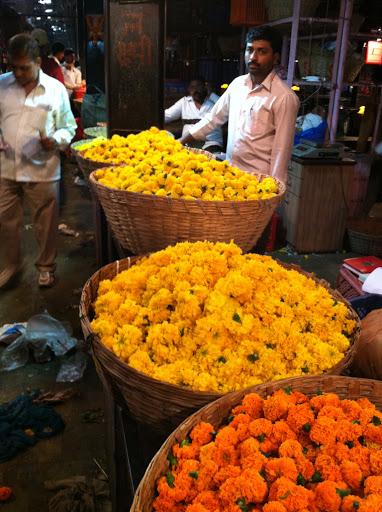 Flower vendor at Dadar flower market, Mumbai, India.