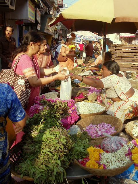 Flower vendor in Mumbai, India.