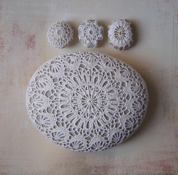 Wedding Table Decor, Home Decor, Crochet Lace Stone, Large,White, Light Gray Stone, Handmade