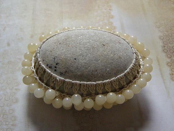 Art, Mixed Media, Original, Tribal, Crochet Stone, Handmade, Beige Thread with Calcite Beads
