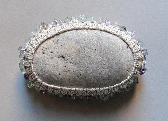 Art, Mixed Media, Crochet Lace Stone, Original, Tribal, Handmade, Light Gray Stone with Fluorite Bead Chips, Table Decorations, Wedding