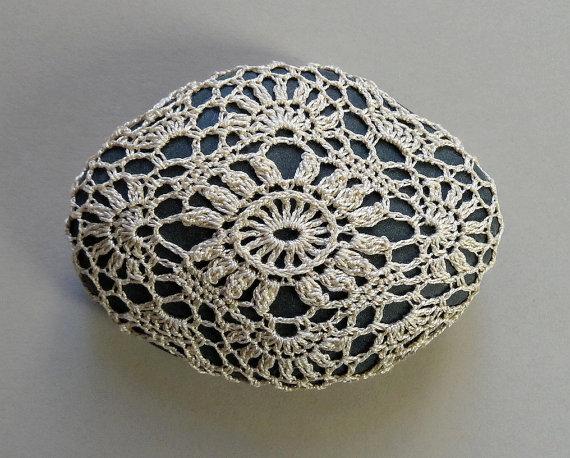 Folk Art, Table Decorations, Crochet Lace Stone, Original, Handmade, Mixed Media, Home Decor, Woodland, Light Beige, Deep Gray Stone