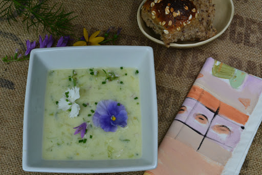 Cooling recipe for cucumber soup on Meatless Monday.