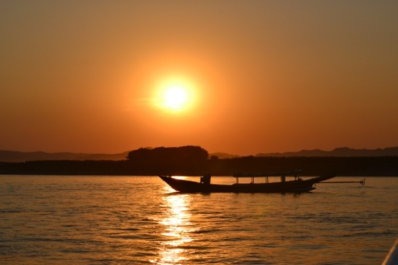 sunset on irrwaddy river