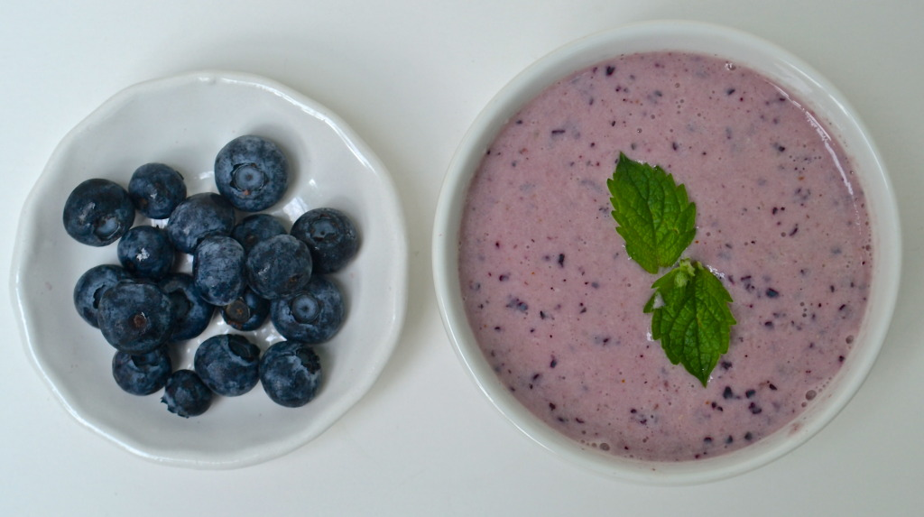 cold summer desert soup blueberry yogurt