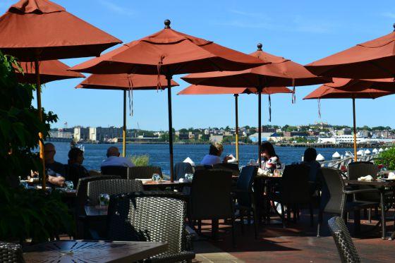Waterfront dining at Aragosta restaurant.
