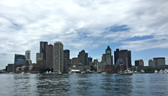 Boston's waterfront from aboard Keep the Catch