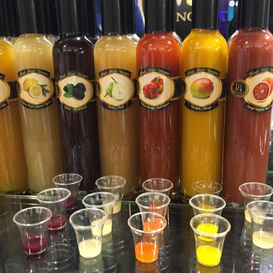 Mange colorful vinegars from the  Boston Public Market