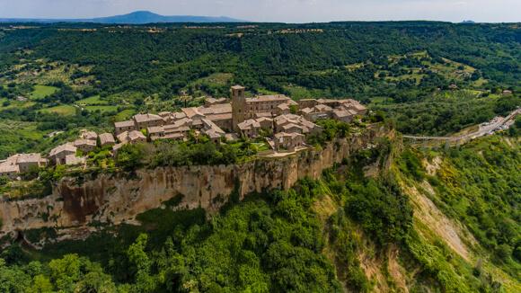 Italy aerial Civita di Bagnoregio