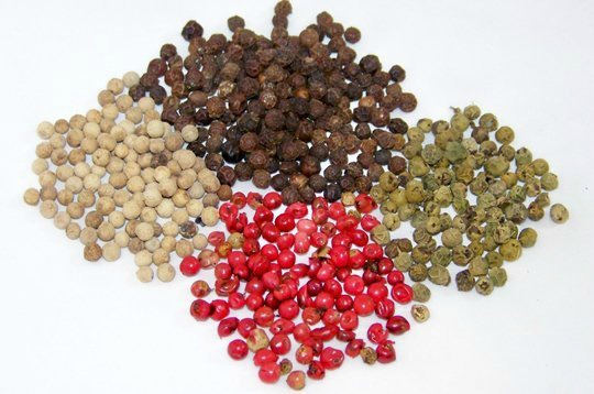 Green, red, black and white pepper.
