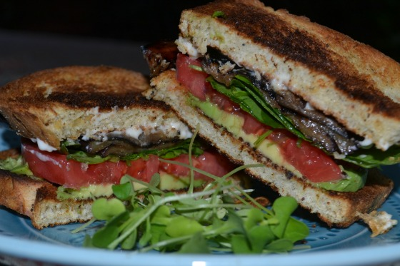 Grilled eggplant, lettuce and tomato.