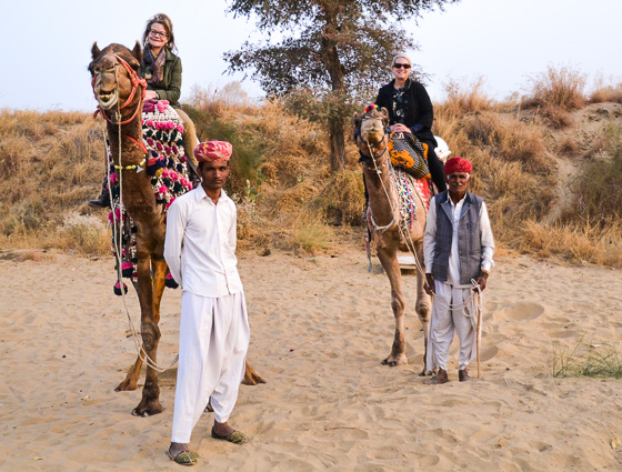 Riding a camel in Rajasthan