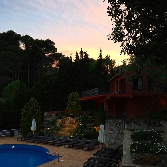 Sunset by the pool in Costa Brava's Hotel Aigua Blava