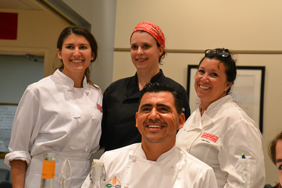 Chef Randy Siles, Lisa Falso, supervisor of Culinary Programs and Boston University and students