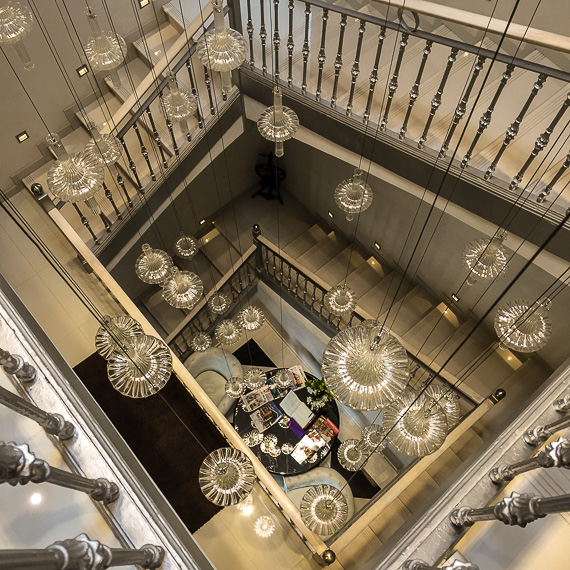 Modern touches in the hotel staircase