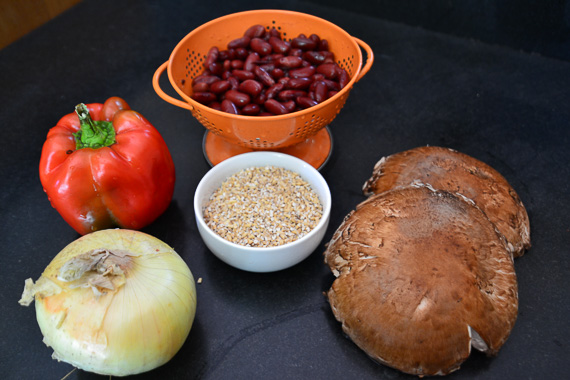 some of the Ingredients for vegetarian chili and steel cut oats