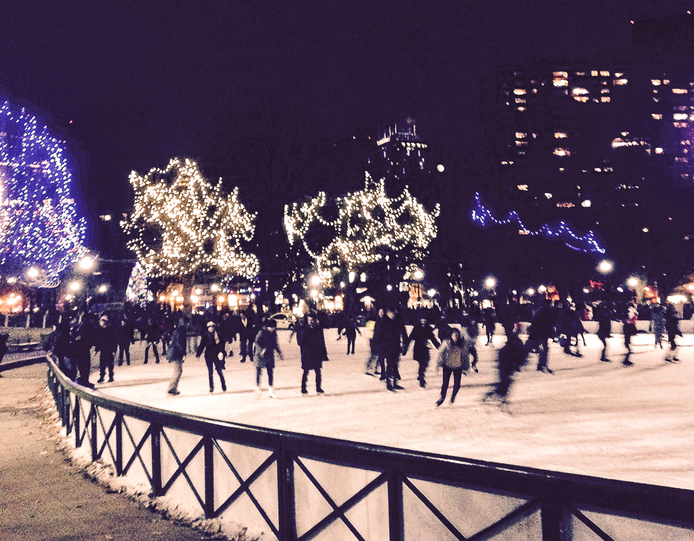 Boston Winter Getaway-skating on Boston Common