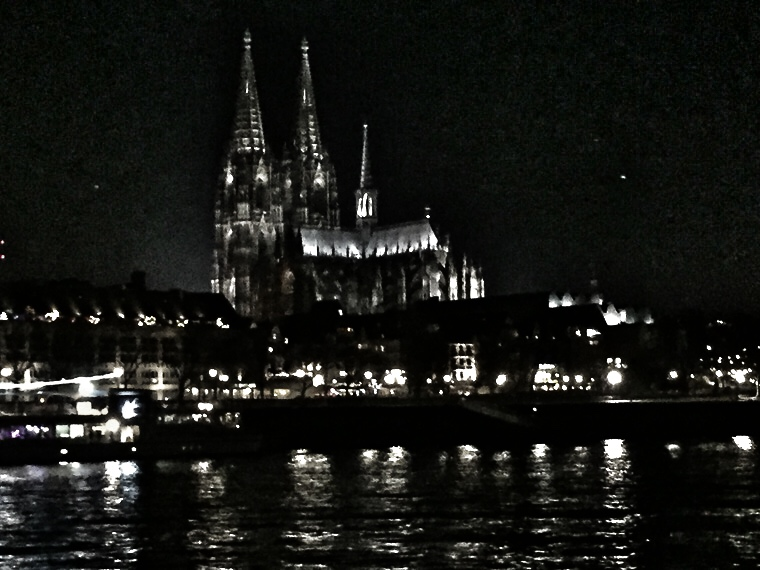 View of Cologne Cathedral from Viking River longship