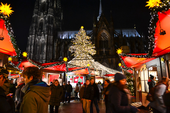 Christmas Market scene in Cologne Germany