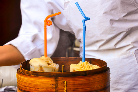 Soup dumplings at Yuyuan Bazaar