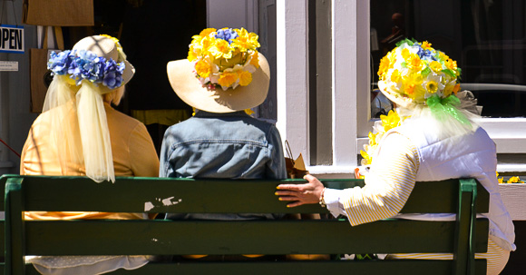 hats at Nantucket's Daffodil Festival
