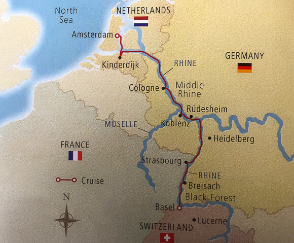 Map of Viking Rhine River cruise