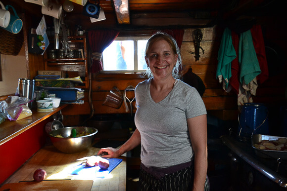 Chef Annie Mahle in her kitchen aboard the J&E Riggin