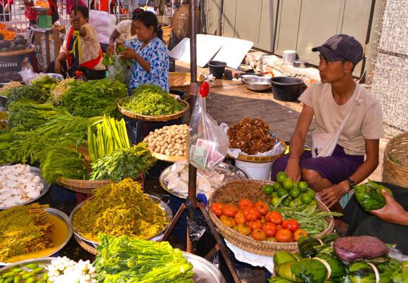 Fresh ingredients mohingha in Myanmar