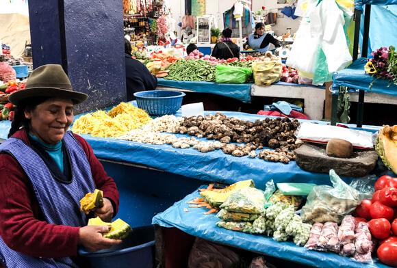 Potatoes at the Calca market in Peru.