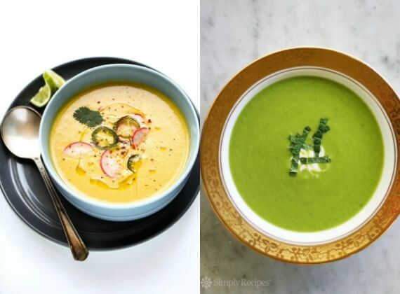 Healthy summer soups sweet corn and sweet pea