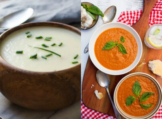 Healthy chilled soups visalia onion and cherry tomato