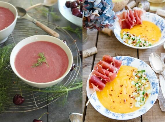 Healthy chilled soups cherry and melon