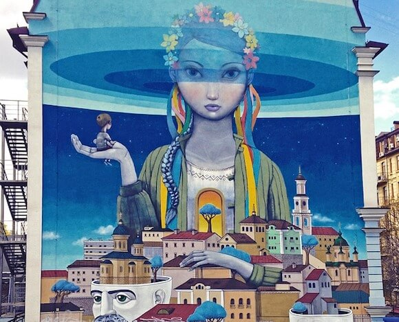 Street art in Kiev Renaissance by Seth Globepainter and Kislow