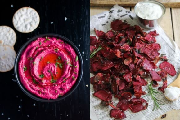 Roasted beet hummus and rosemary sea salt beet chips