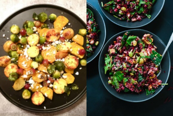 Roasted autumn vegetables and colorful beet salad