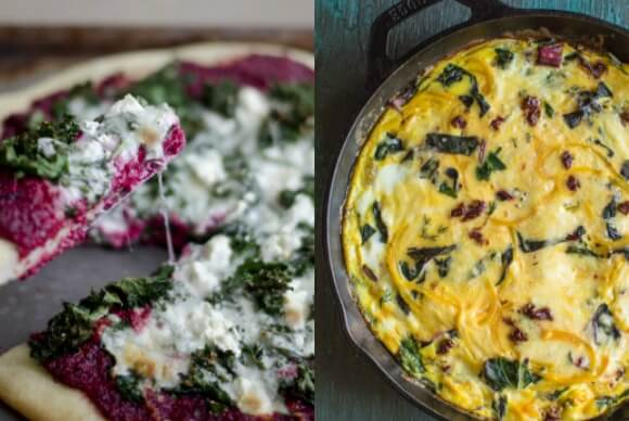 Beet pesto pizza and golden beet frittata