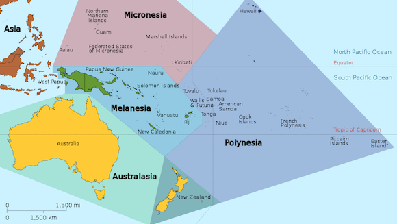 Baby boomer travel destinations Oceania map
