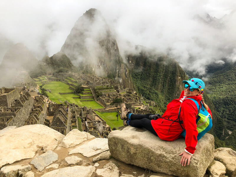 Alison Abbott reaching the Unesco World Heritage site of Machu Picchu