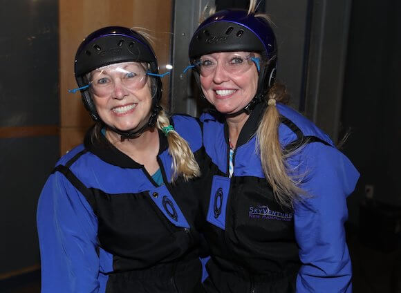 Patti Morrow and Alison Abbott getting ready to indoor skydive