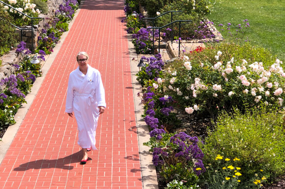 Rose covered walk to the spa