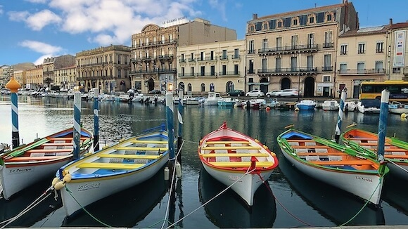 Boats on the water in Sete, France