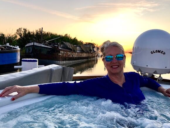 Hot tub on hotel barge cruise