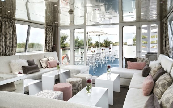 Salon aboard the Anne Marie French hotel barge