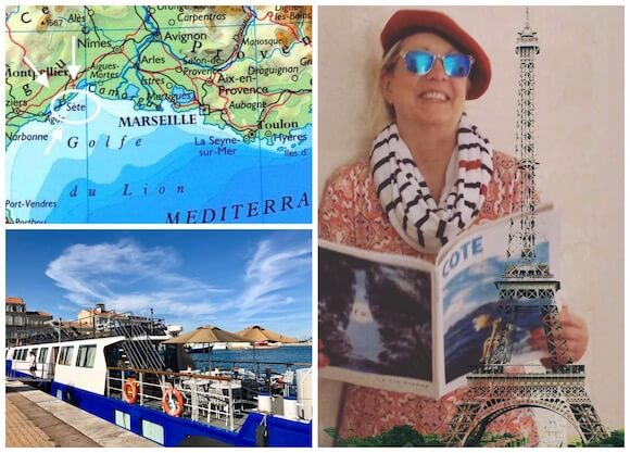 map of southern france, french barge, woman holding magazine