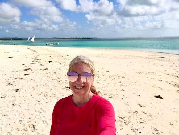 woman on zanzibar beach