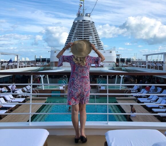 woman on a luxury cruise ship